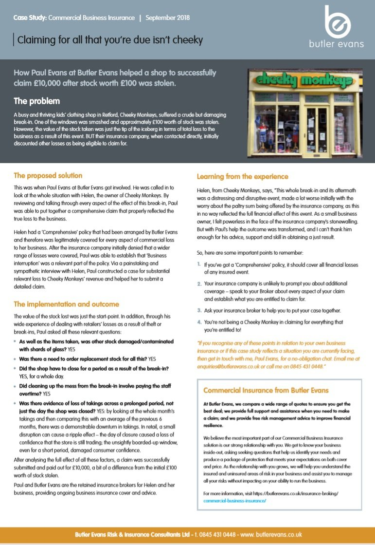 Commercial Insurance Claims Service case study